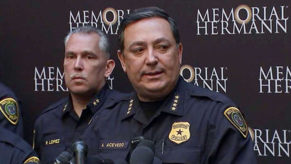 Houston police Chief Art Acevedo speaks about the shooting of five police officers during a press conference at a hospital in Houston, Jan. 19, 2019.