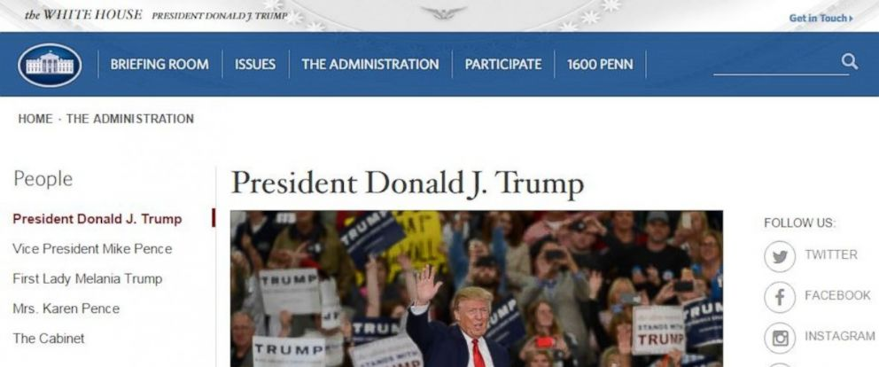 PHOTO: President Donald J. Trumps biography on the White House official website, Jan. 20, 2017.