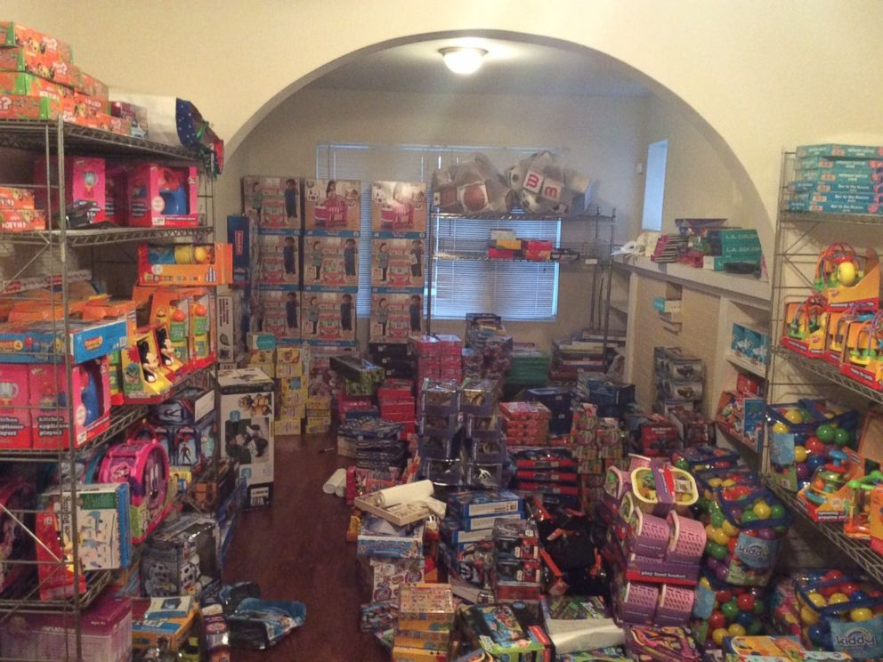 PHOTO: The first floor of Jessie Tendayis Chicago apartment is covered in toys she plans to donate.
