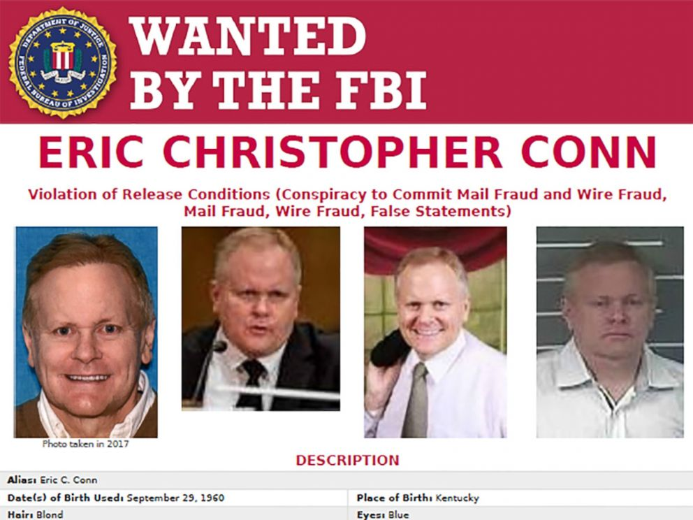 PHOTO: The FBI released a wanted poster for Kentucky lawyer Eric Christopher Conn who was indicted on federal charges in April 2016.