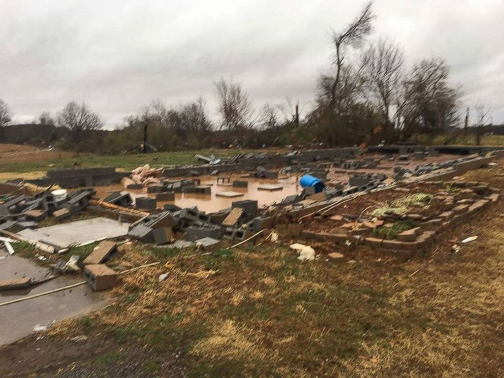 PHOTO: The remains of the family home of Amber Newman in Athens, Tennessee, are pictured after a tornado swept the home off its foundation.