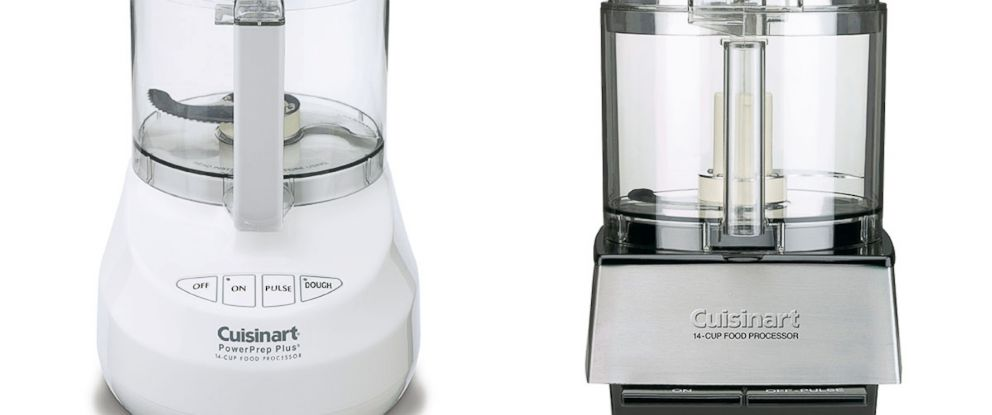 PHOTO: Examples of Cuisinart Food Processors with riveted blades recalled by Conair due to laceration hazard.