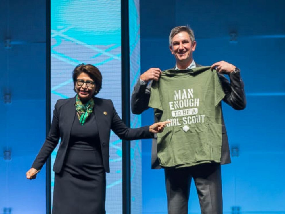 PHOTO: The CEO of Girl Scouts USA, Sylvia Acevedo, and Mark Anderson, the President of Palo Alto Networks, a cybersecurity company, discuss their new partnership aimed at teaching girls about cybersecurity.