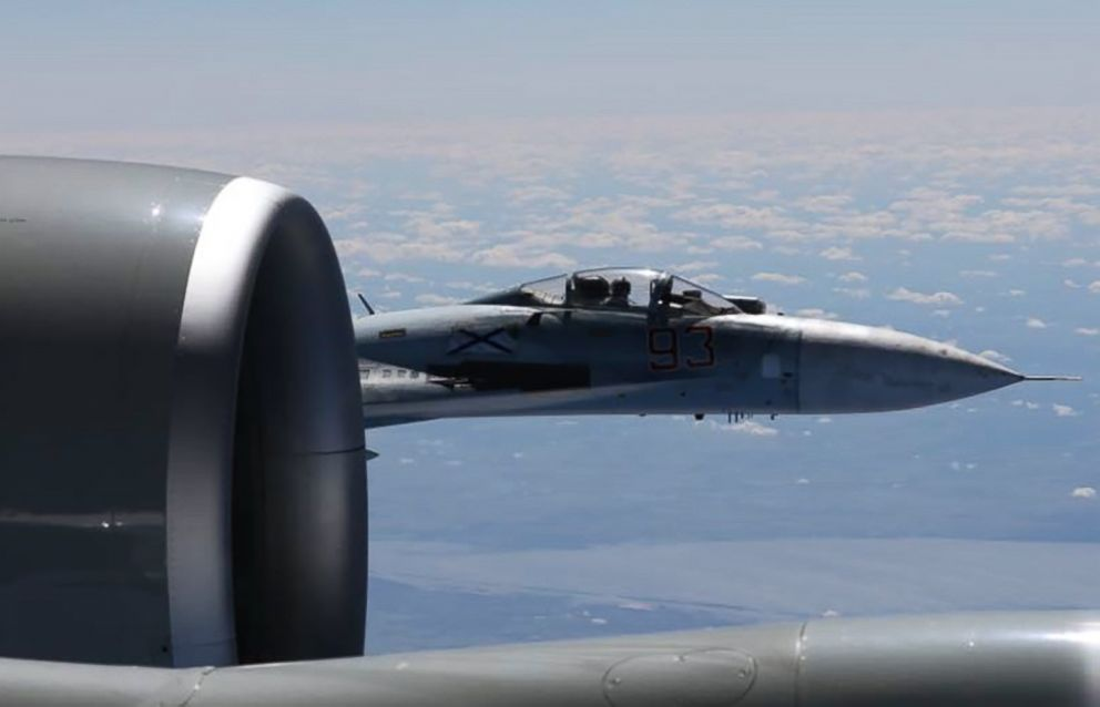 PHOTO: A Russian SU-27 Flanker fighter flies as close as five feet from a RC-135 U.S. Air Force reconnaissance aircraft which was flying in international airspace over the Baltic Sea, June 19, 2017.