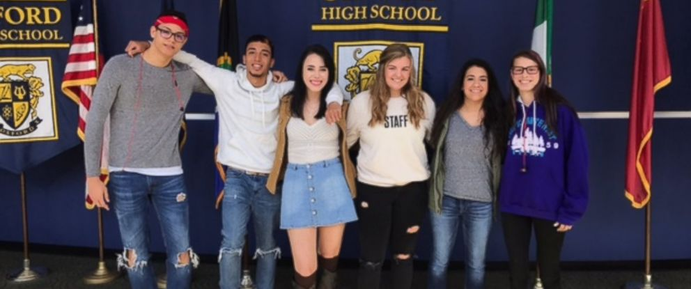 "PHOTO: Pictured from left to right Jeam, Jordan, Riley, Alexa, Kayla, Maddie are the first wave of Oxford High School students to share their story to help spread ""13 Reasons Why Not"" campaign."