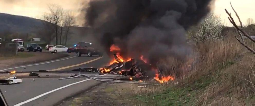 PHOTO: A video still of a plane crash in Wallingford, Conn., April 24, 2017.