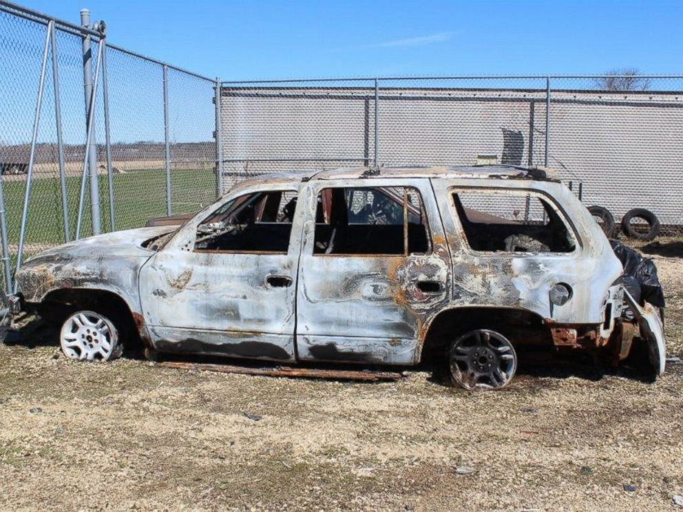 PHOTO: Rock County Sheriffs Office in Wisconsin released this image of the burned-out car they say belongs to Joseph Jakubowski. They say Jakubowski is a gun-theft suspect who is armed and dangerous.