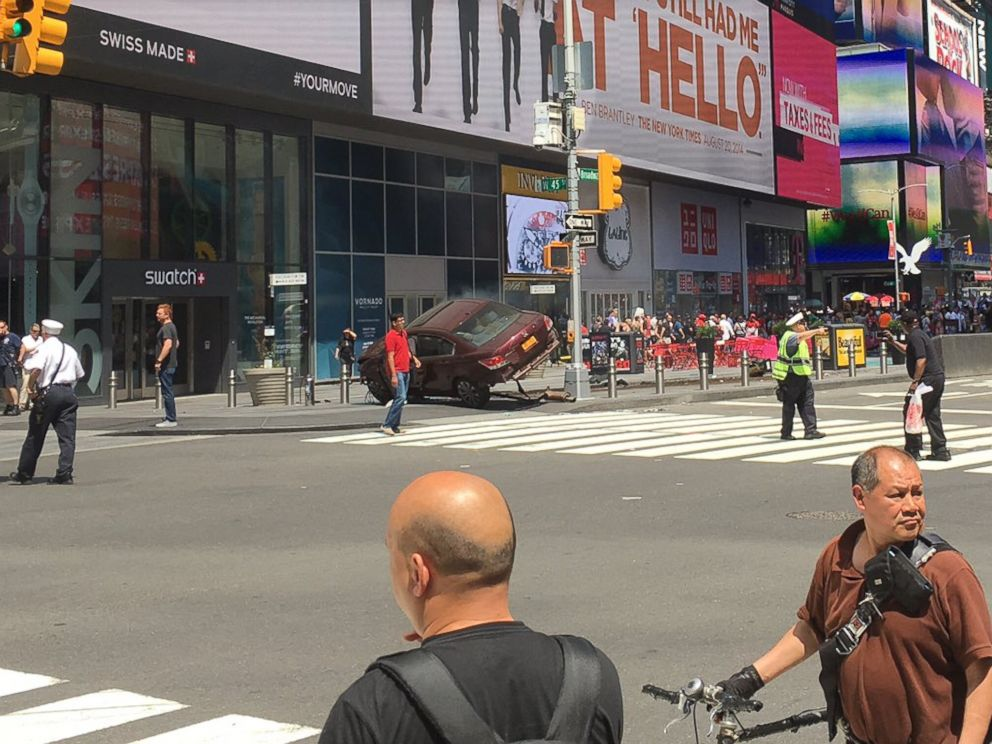 PHOTO: An image posted to Twitter by Josh Silverman shows the scene of a motor vehicle accident in the Times Square neighborhood of New York, May 18, 2017.