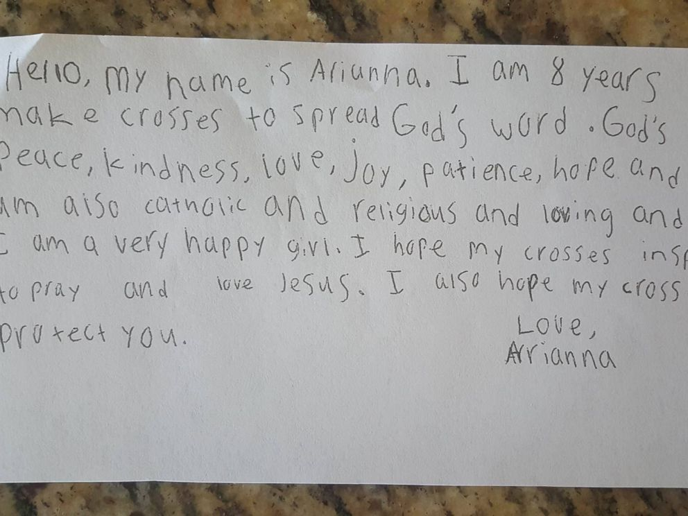PHOTO: Arianna Nichols, 8, sends handmade crosses, along with a note, to police departments across the U.S.