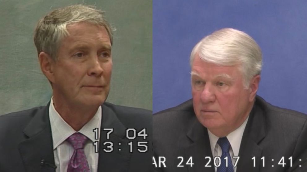 Former U.S. Senators Bill Frist (left) and former U.S. Navy Officer Admiral Gary Roughead (right) are seen here during 2017 depositions.