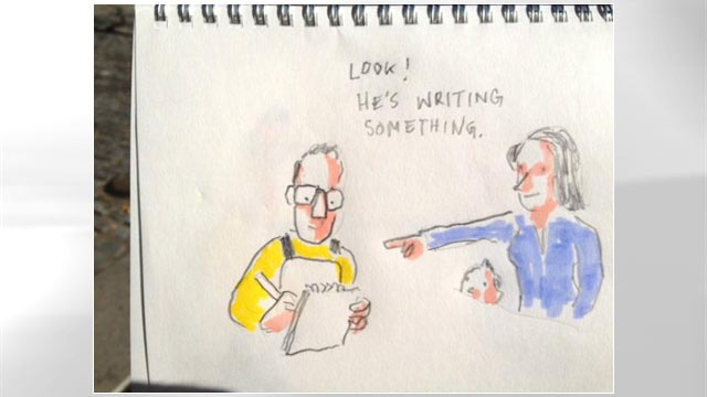 PHOTO: New York Times cartoonist Christoph Niemann live-sketched and live-tweeted the NYC Marathon while running it, Nov. 6, 2011.