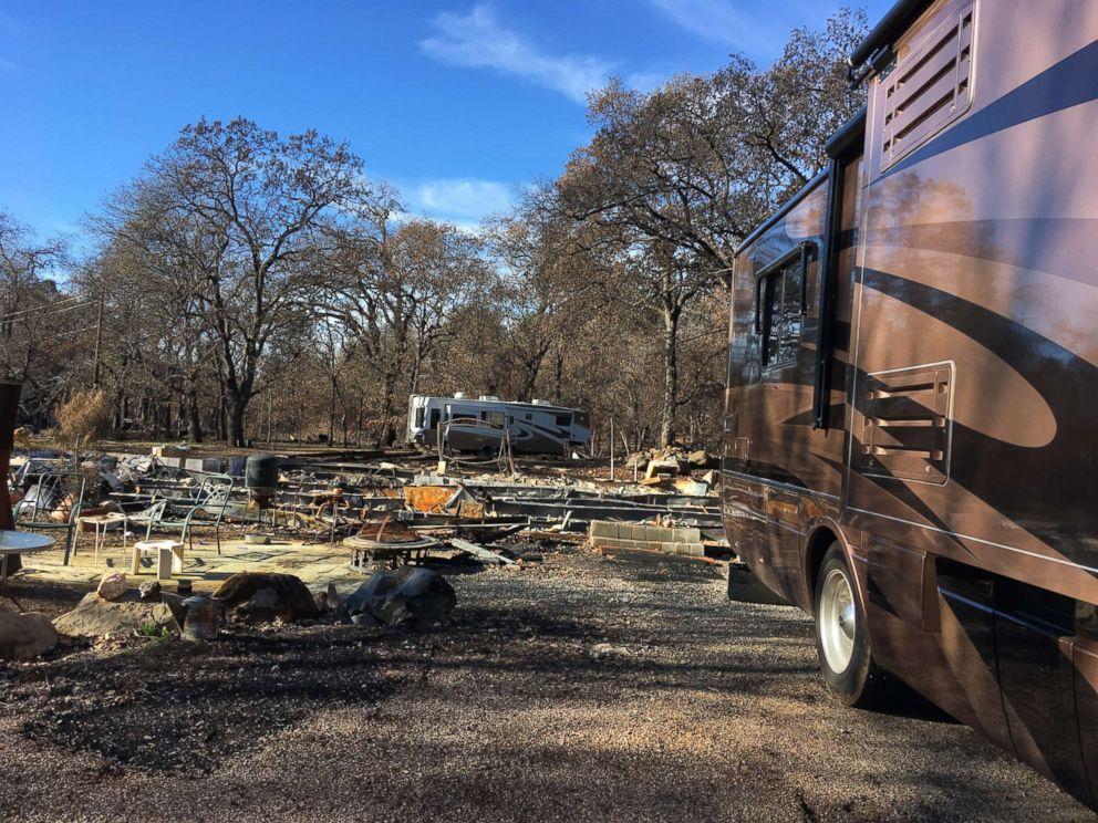 The Hornig family's RV seen here on Christmas Eve 2018 parked on the Paradise, California, property they lost in the wildfires.