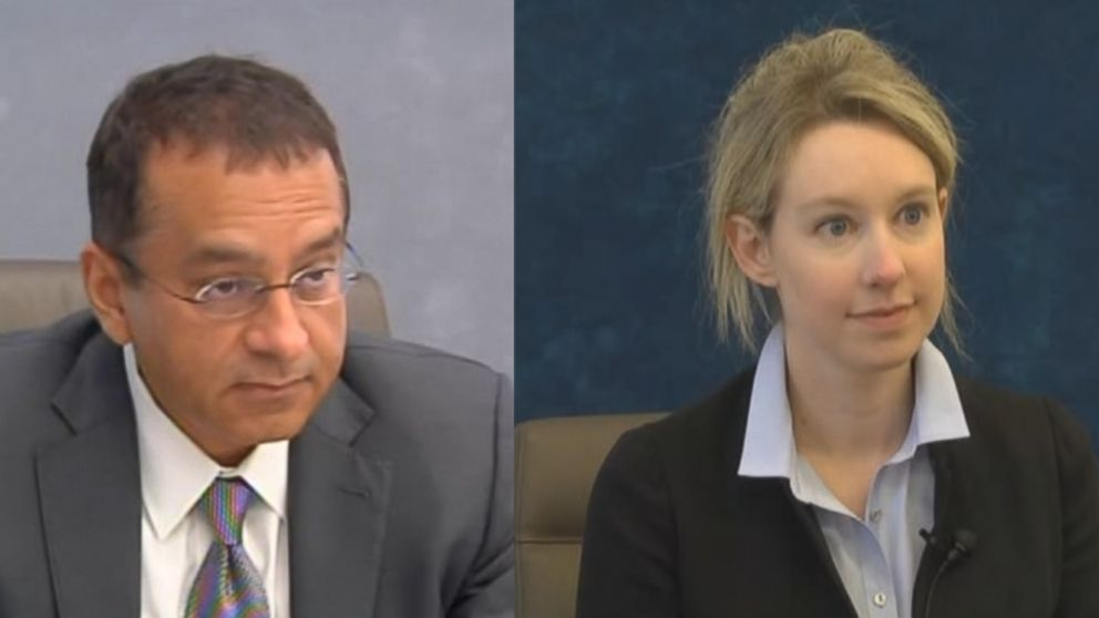 Ramesh 'Sunny' Balwani (left) and Elizabeth Holmes (right) are seen here during their 2017 depositions with the Securities and Exchange Commission.