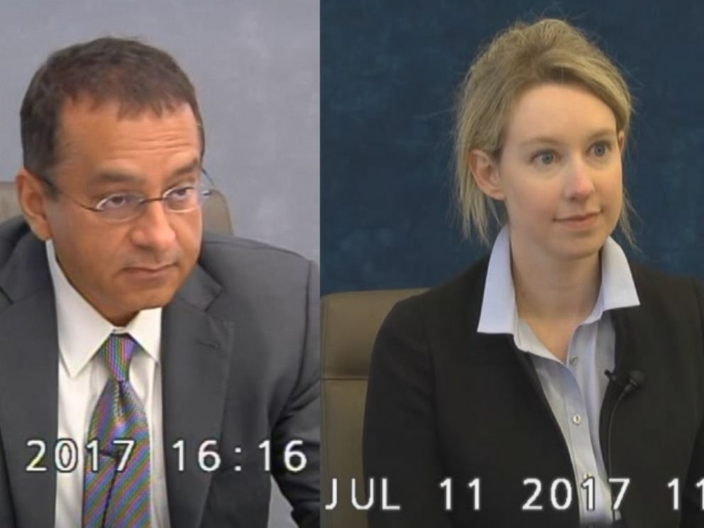 Ramesh Sunny Balwani (left) and Elizabeth Holmes (right) are seen here during their 2017 depositions with the Securities and Exchange Commission.