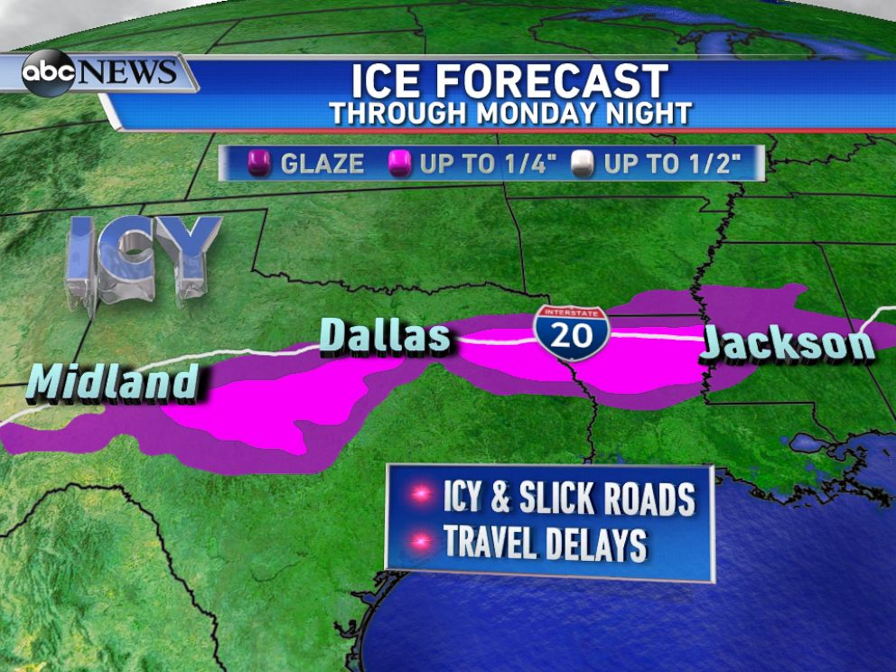 PHOTO: Freezing rain will lead to icy roads and possible travel delays across parts of the South on Monday.