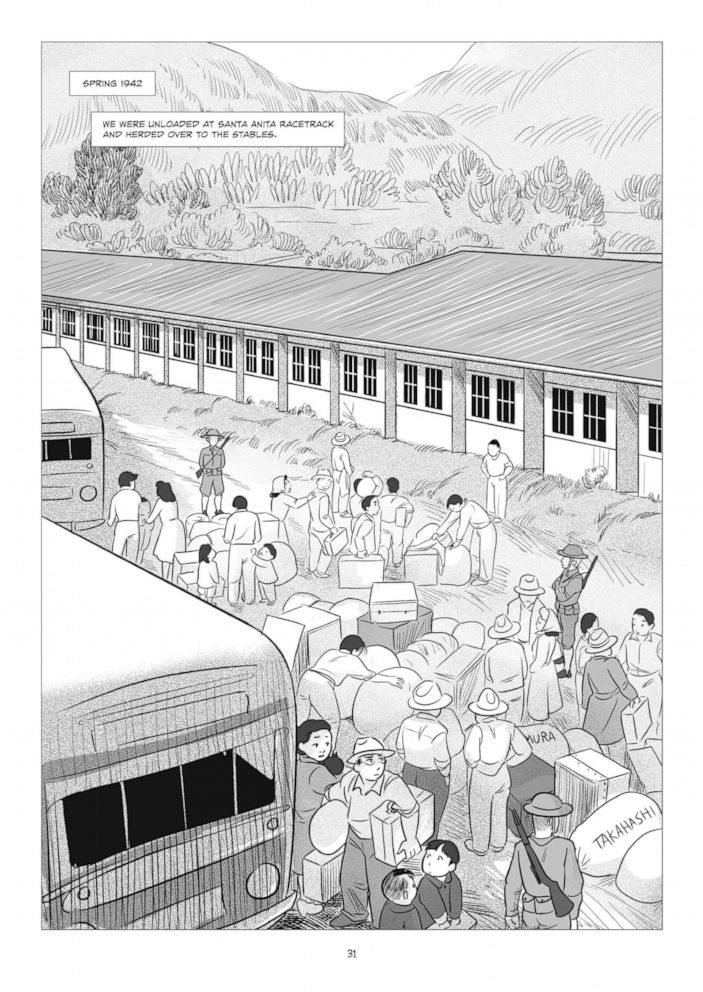 An internal page from George Takeis graphic novel, They Called Us Enemy.