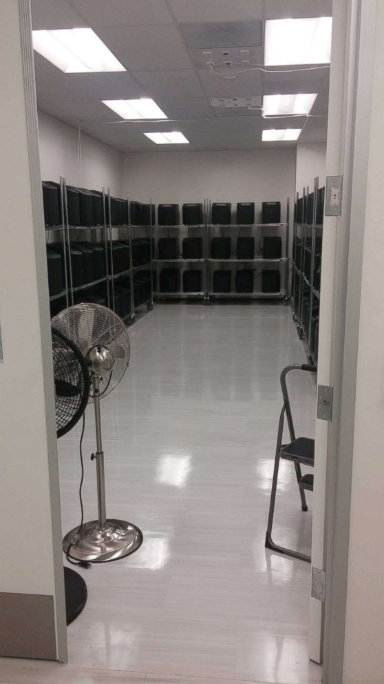 A former Theranos employee told ABC News she took this photo of what she says shows a microbiology office that had been converted to a Theranos miniLab machine storage room at the companys Newark facility ahead of then-Vice President Bidens visit.