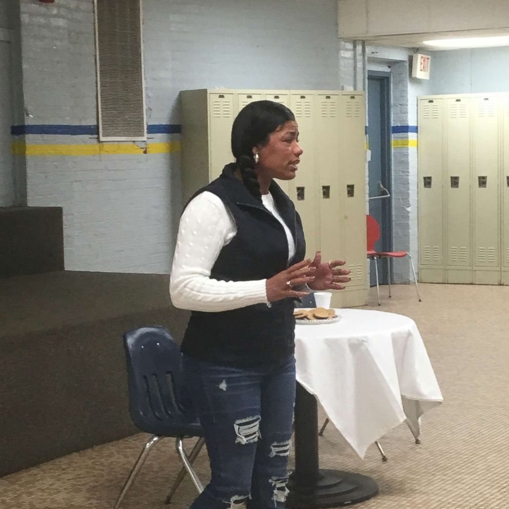 Tyra Patterson speaks with high school students.