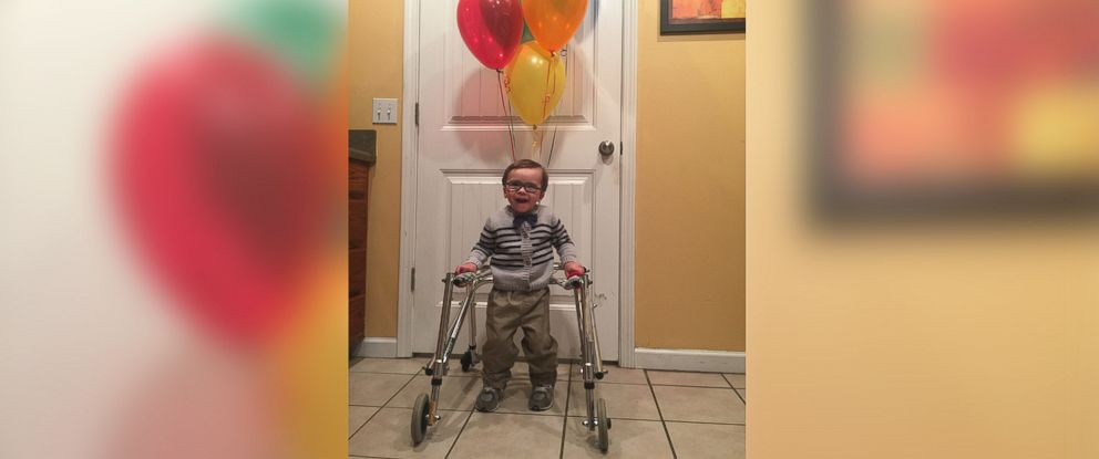 """PHOTO: Angler Davis, who uses a walker, is dressed as Carl Fredricksen from Disneys """"Up."""""""