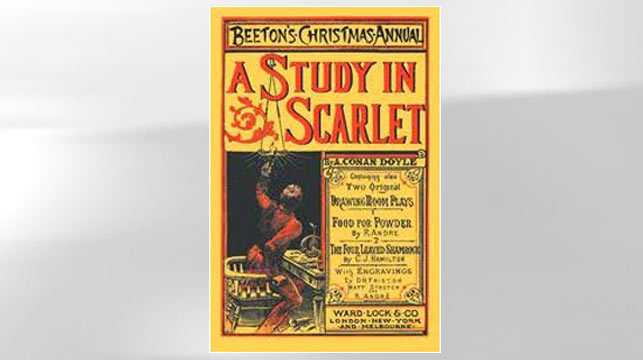 "PHOTO: The cover of the book ""A Study in Scarlet"" is shown."