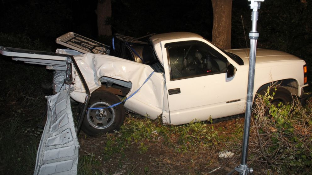 Brian Jennings' truck is pictured here after the accident he was killed in.