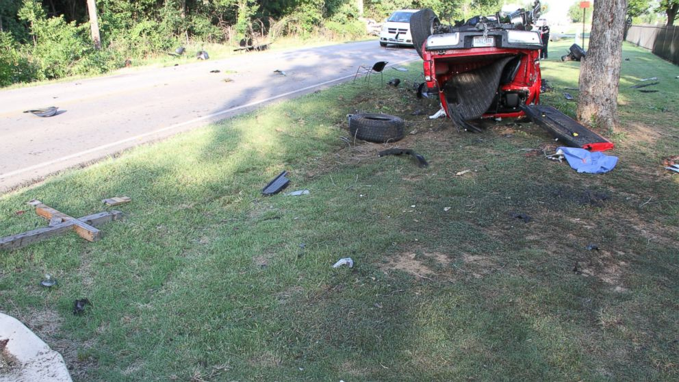 The pick-up truck Ethan couch was driving is seen here during the day after fatal car crash.