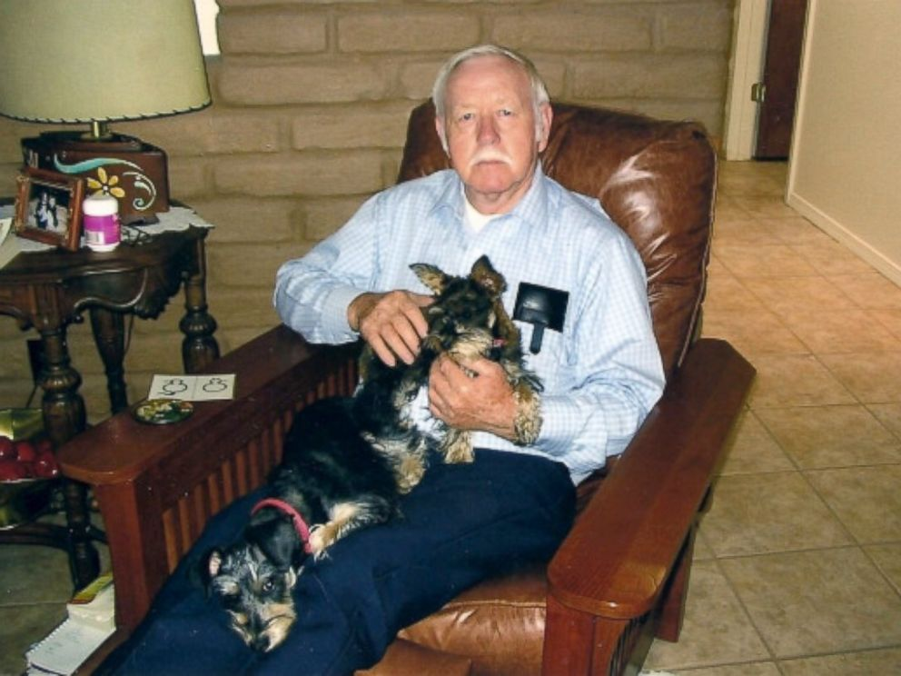 PHOTO: Lisa Abeytas father in his favorite chair with his own two dogs.