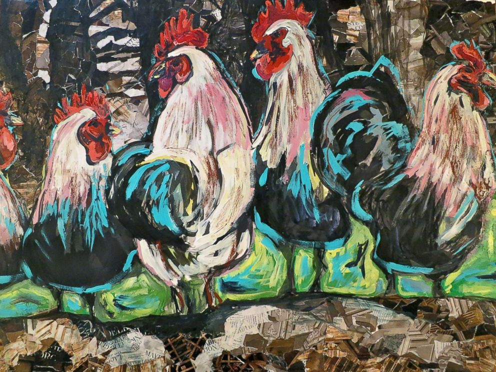 PHOTO: The collage of four roosters is named Rooster Curiosity.