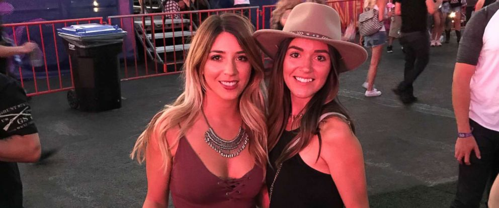 Sisters Andrea and Athena Castilla are seen here during the Route 91 Harvest music festival before the shooting.