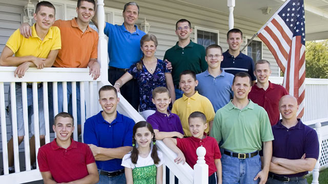 PHOTO: The Arndt family, are seen with their sixteen children, in this undated file photo.