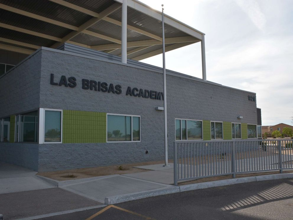 This police photo shows the exterior of the Las Brisas Academy in Goodyear, Arizona.