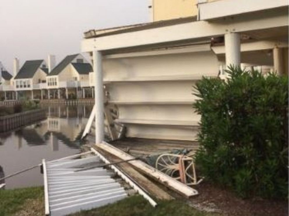 PHOTO: A second-floor wooden balcony collapsed at a condominium in Destin, Florida, on March 1, 2017.