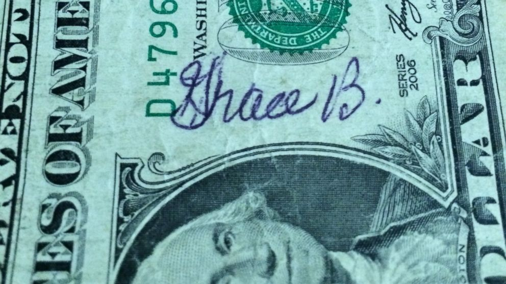Peter Bilello, a widow, accidentally spent this dollar bill signed by his wife Grace. Years later, he got the bill back.