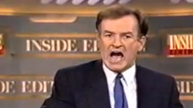 "PHOTO: In this undated screengrab, ""Inside Edition"" anchor Bill OReilly is shown having an on-camera meltdown. Flustered and unable to understand the phrase ""to play us out,"" OReilly lashed out at his staff, unleashing some choice words in the process."