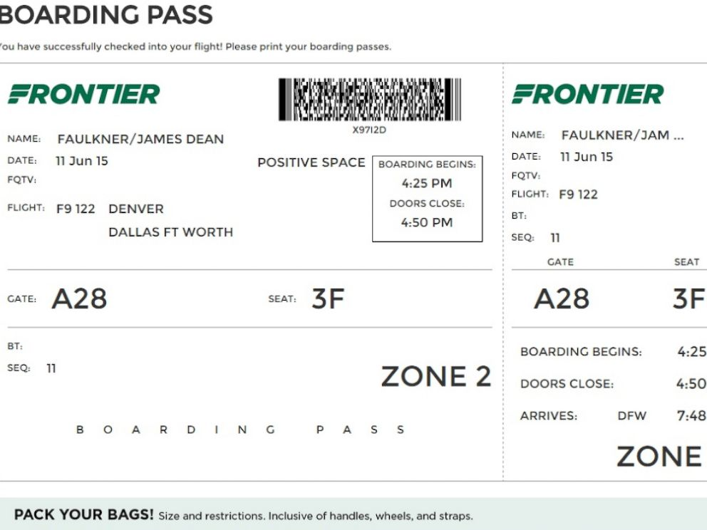 PHOTO: Fronteir Arlines is removing departure time from their boarding passes.