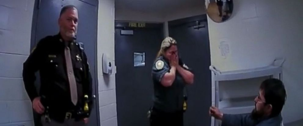 PHOTO: Nebraska correction officer Amber Kult is surprised when her boyfriend -- who pretends to get arrested -- proposed to her on December 7, 2016 in Washington County, Nebraska. A colleagues bodycam captured it.