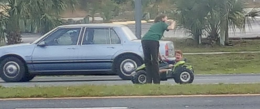 PHOTO: A witness photographed a 3-year-old boy driving a motorized toy big rig on a Florida highway in Crystal River, Fla.