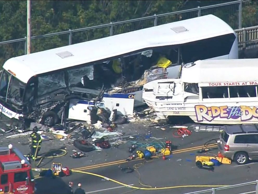 PHOTO: An screen grab showing the wreckage of the Ride the Ducks vehicle.