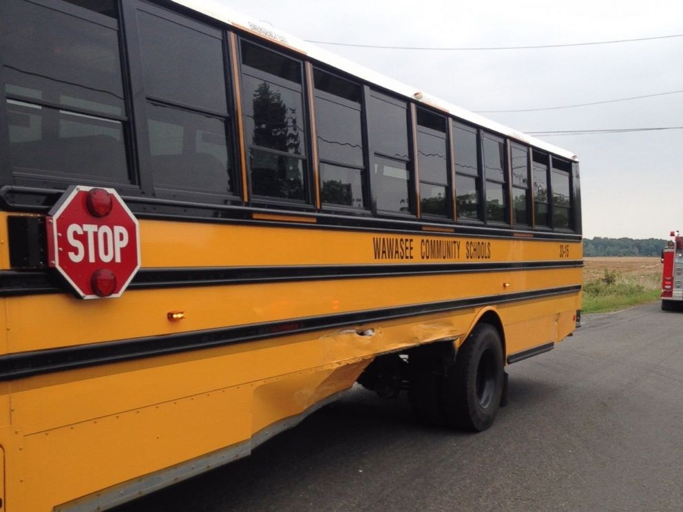 PHOTO: This photo from the Kosciusko County Sheriffs Department was taken at the scene of a crash between a school bus and a driverless car near Syracuse, Indiana.