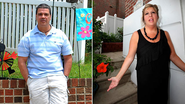 PHOTO: Firefighter, John Clark, left, and neighbor Diane Butler in Roxborough, PA., July 6th, 2011.