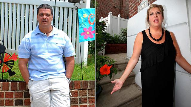 PHOTO:Firefighter, John Clark, left, and neighbor Diane Butler in Roxborough, PA., July 6th, 2011.