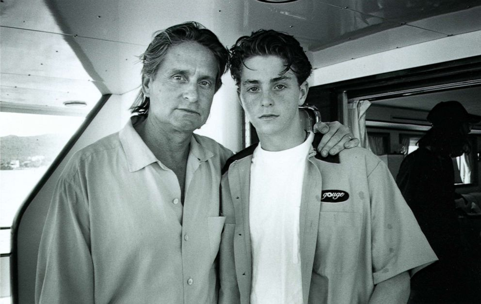 Cameron Douglas (right) is seen here with his father Michael Douglas (left) in this family photo.