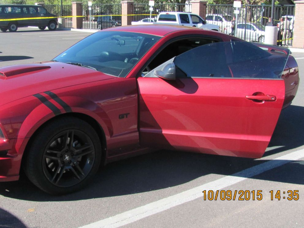 Police photo of Steven Jones car after the shooting incident at Northern Arizona University.