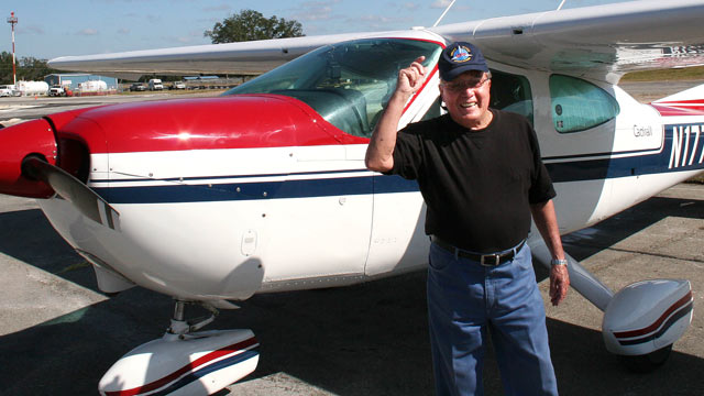 PHOTO:Charlie Lopez, 84, of Miami, Fla., is part of a group for active pilots 80 years old and over called the United Flying Octogenarians.