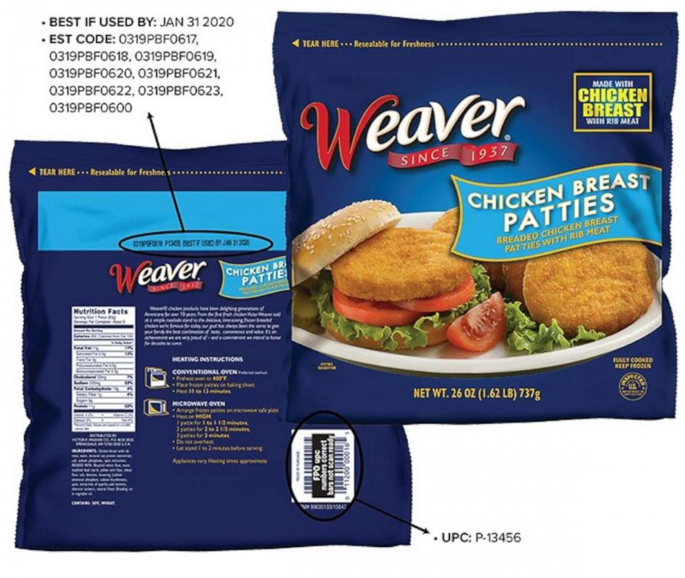 Tyson Foods recalls 19.5 tons of chicken breast patties for
