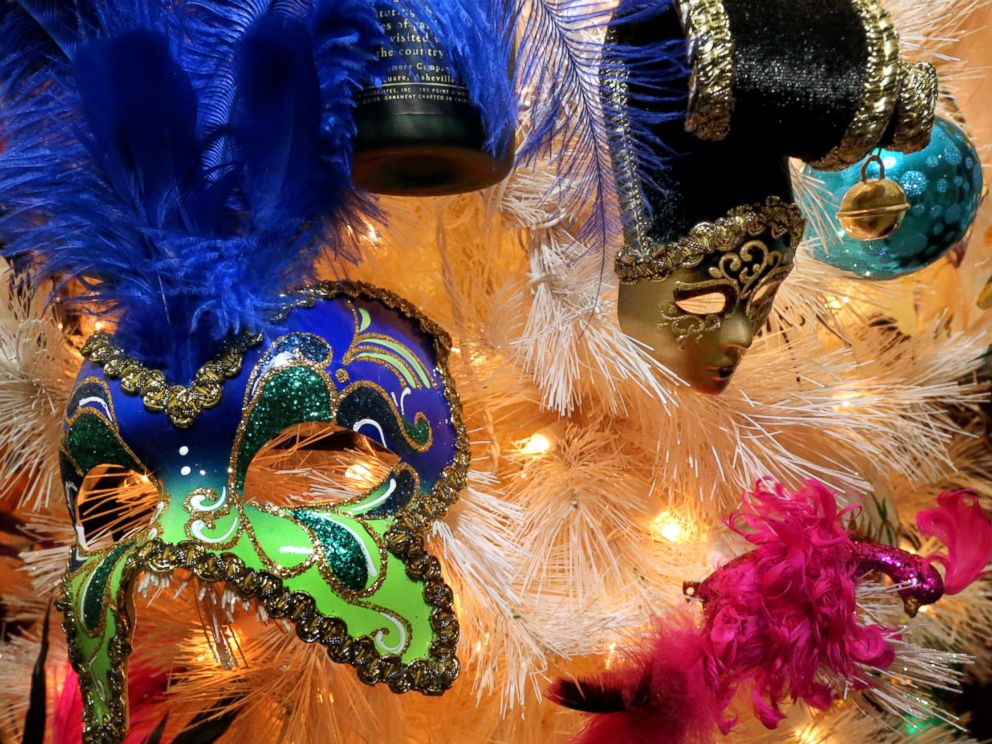 PHOTO: The Mardi Gras tree is one of the new ones, with masks from Texas and Louisiana.