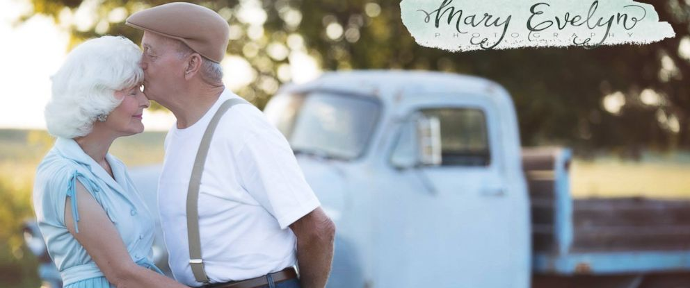 """PHOTO: Clemma and Sterling Elmore have been married for 57 years, and a photo shoot of them that was inspired by the film """"The Notebook"""" has been going viral."""