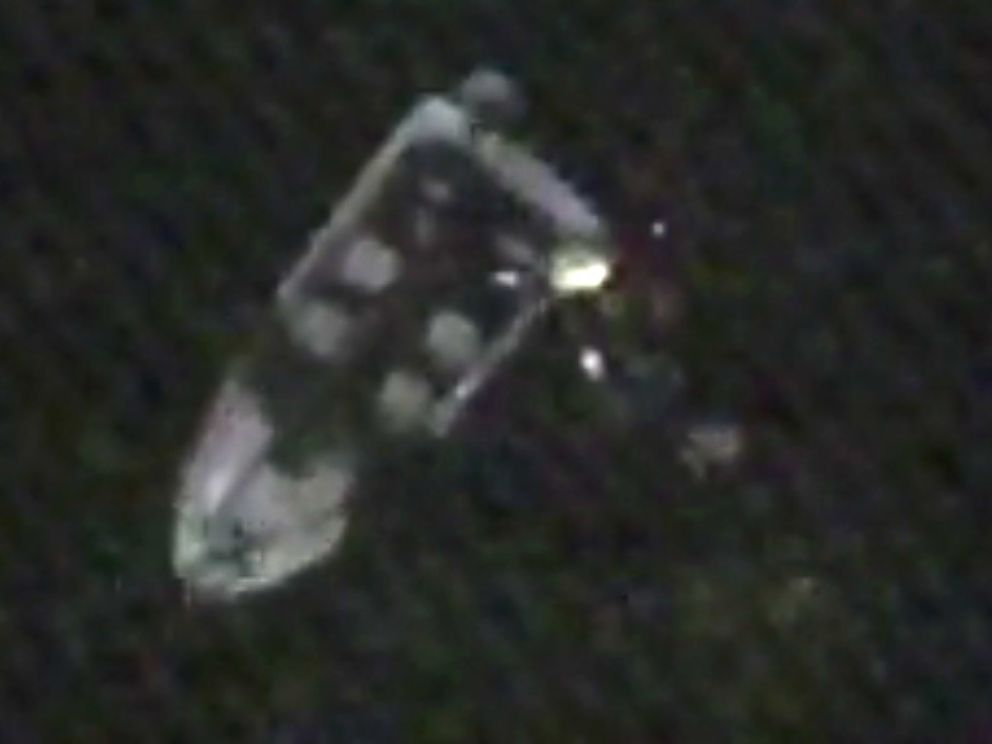 PHOTO: A still from Coast Guard video shows a disabled 19-foot motor boat during the rescue of two boaters drifting dangerously close to Niagara Falls on the night of Aug. 25, 2014.