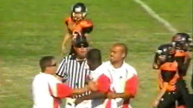 PHOTO: A California father ran onto the field of his son's youth football game after he believed the referee had been too rough with his child.