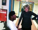 """PHOTO: """"Nightline"""" anchor Cynthia McFadden talks with Darius Weems while he is seeking treatment for Duchenne Muscular Dystrophy at the Kennedy Krieger Institute in Balitmore."""